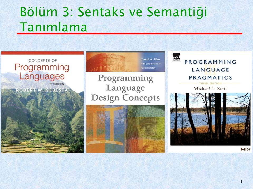 Backus-Naur Form (BNF) Temelleri BNF'de açıklanan bir gramer, 4 bölümden oluşur: 1.Terminal Sembolleri (Atomik uç birimler- lexemeler ve simgeler (tokens)) 2.Terminal Olmayan Semboller (Sözdizim değişkenleri) 3.Kurallar (Gramer, üretim, Terminal olmayan sembollerin çözümü) 4.Başlangıç Sembolü (Başlangıç terminal olmayan sembol) 32