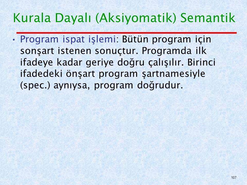 Program ispat işlemi: Bütün program için sonşart istenen sonuçtur.