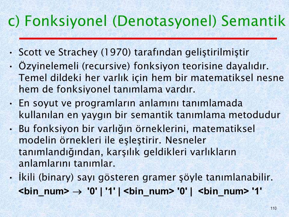 c) Fonksiyonel (Denotasyonel) Semantik Scott ve Strachey (1970) tarafından geliştirilmiştir Özyinelemeli (recursive) fonksiyon teorisine dayalıdır.