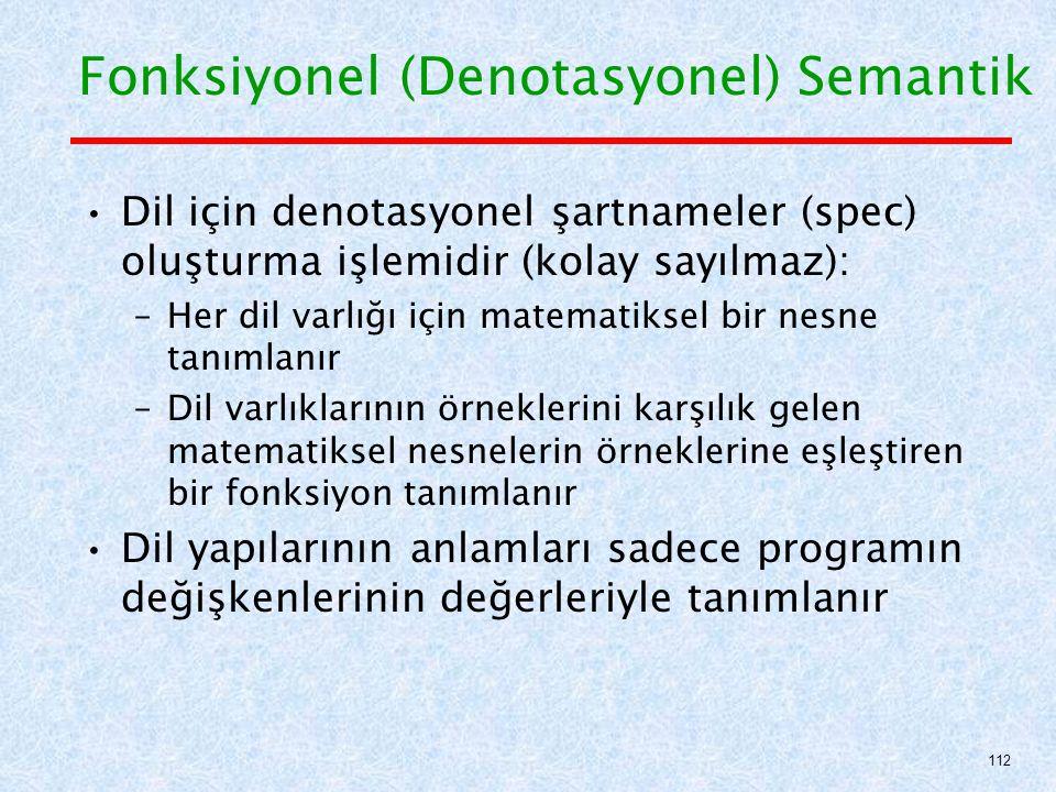 Dil için denotasyonel şartnameler (spec) oluşturma işlemidir (kolay sayılmaz): –Her dil varlığı için matematiksel bir nesne tanımlanır –Dil varlıklarının örneklerini karşılık gelen matematiksel nesnelerin örneklerine eşleştiren bir fonksiyon tanımlanır Dil yapılarının anlamları sadece programın değişkenlerinin değerleriyle tanımlanır Fonksiyonel (Denotasyonel) Semantik 112