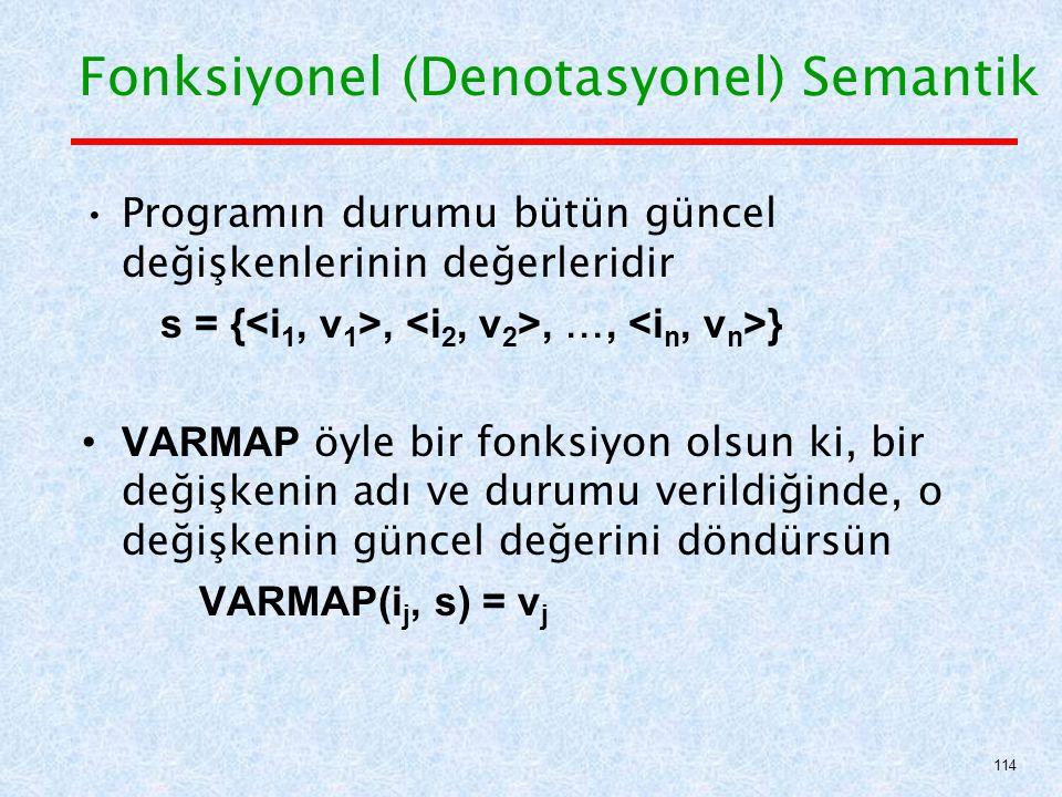 Programın durumu bütün güncel değişkenlerinin değerleridir s = {,, …, } VARMAP öyle bir fonksiyon olsun ki, bir değişkenin adı ve durumu verildiğinde, o değişkenin güncel değerini döndürsün VARMAP(i j, s) = v j Fonksiyonel (Denotasyonel) Semantik 114
