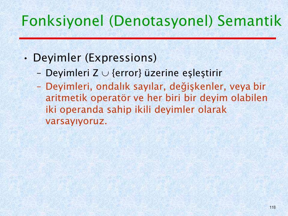 Deyimler (Expressions) –Deyimleri Z  {error} üzerine eşleştirir –Deyimleri, ondalık sayılar, değişkenler, veya bir aritmetik operatör ve her biri bir deyim olabilen iki operanda sahip ikili deyimler olarak varsayıyoruz.