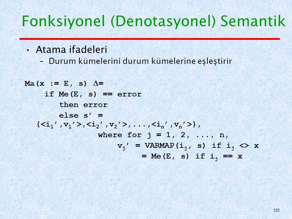 Atama ifadeleri –Durum kümelerini durum kümelerine eşleştirir Ma(x := E, s)  = if Me(E, s) == error then error else s' = {,,..., }, where for j = 1, 2,..., n, v j ' = VARMAP(i j, s) if i j <> x = Me(E, s) if i j == x Fonksiyonel (Denotasyonel) Semantik 120