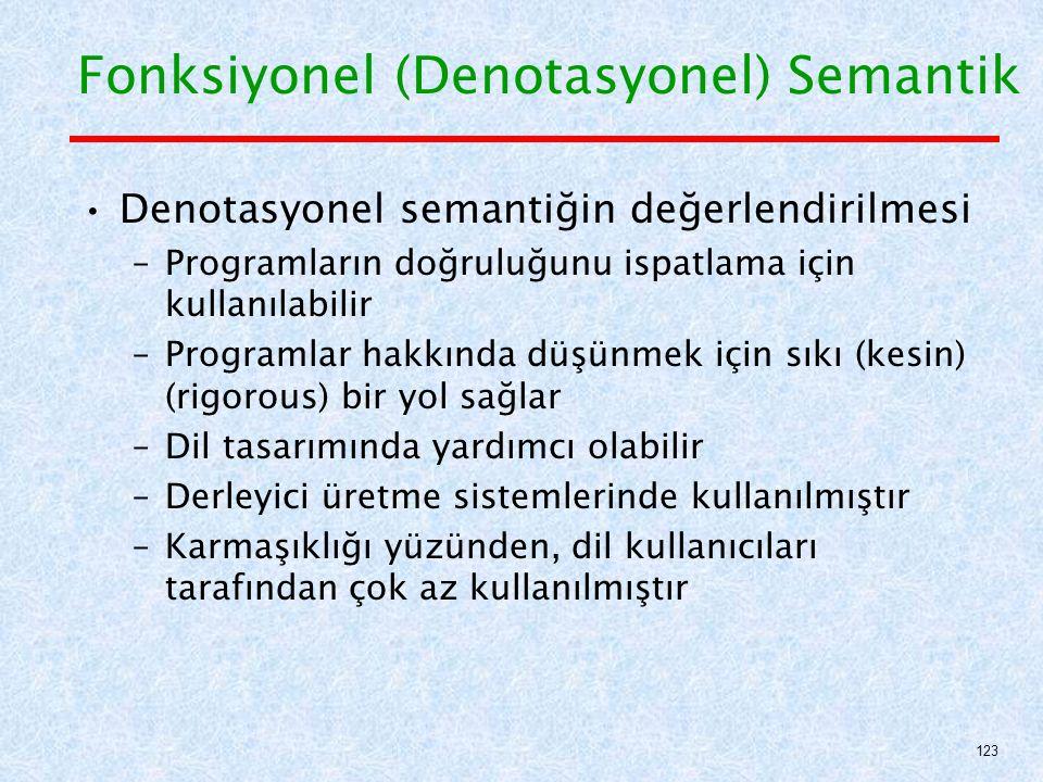 Denotasyonel semantiğin değerlendirilmesi –Programların doğruluğunu ispatlama için kullanılabilir –Programlar hakkında düşünmek için sıkı (kesin) (rigorous) bir yol sağlar –Dil tasarımında yardımcı olabilir –Derleyici üretme sistemlerinde kullanılmıştır –Karmaşıklığı yüzünden, dil kullanıcıları tarafından çok az kullanılmıştır Fonksiyonel (Denotasyonel) Semantik 123