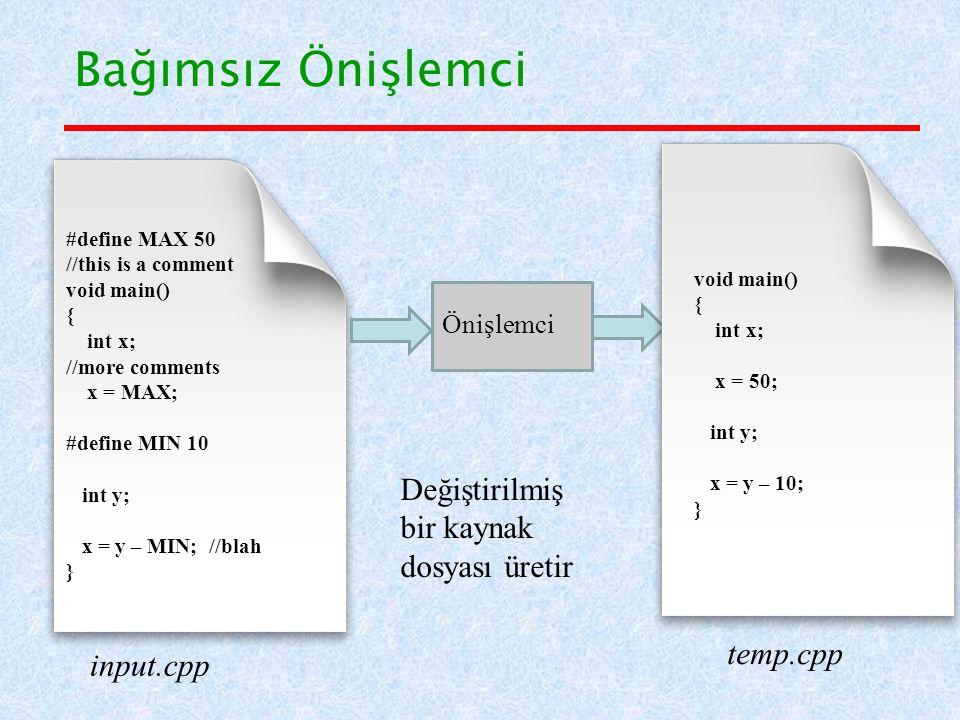 Bağımsız Önişlemci input.cpp temp.cpp Önişlemci #define MAX 50 //this is a comment void main() { int x; //more comments x = MAX; #define MIN 10 int y; x = y – MIN; //blah } void main() { int x; x = 50; int y; x = y – 10; } Değiştirilmiş bir kaynak dosyası üretir