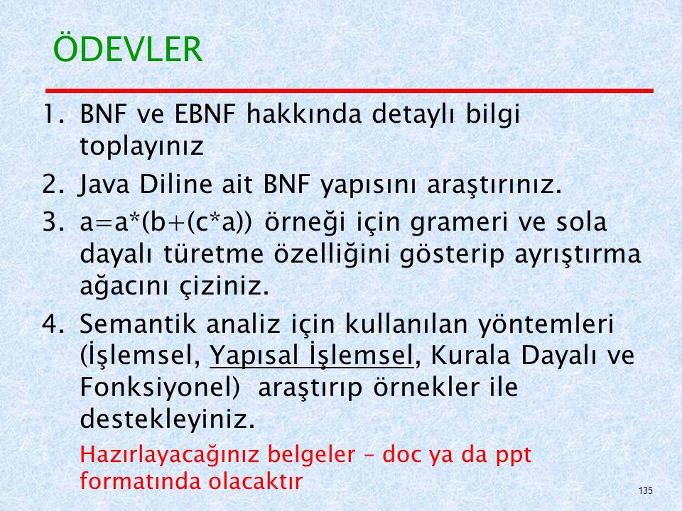 ÖDEVLER 1.BNF ve EBNF hakkında detaylı bilgi toplayınız 2.Java Diline ait BNF yapısını araştırınız.