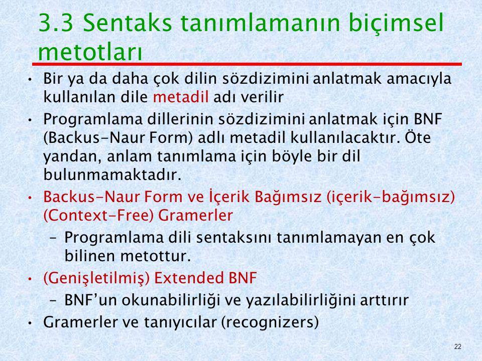 3.3 Sentaks tanımlamanın biçimsel metotları Bir ya da daha çok dilin sözdizimini anlatmak amacıyla kullanılan dile metadil adı verilir Programlama dillerinin sözdizimini anlatmak için BNF (Backus-Naur Form) adlı metadil kullanılacaktır.