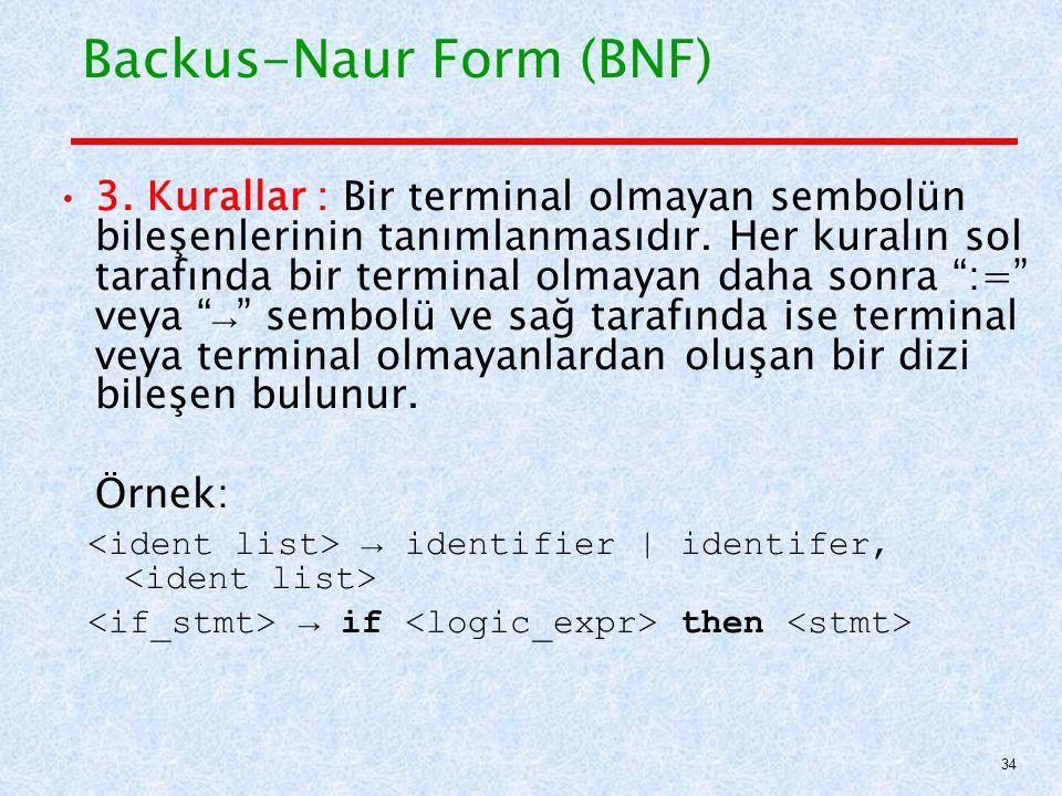 Backus-Naur Form (BNF) 3.Kurallar : Bir terminal olmayan sembolün bileşenlerinin tanımlanmasıdır.