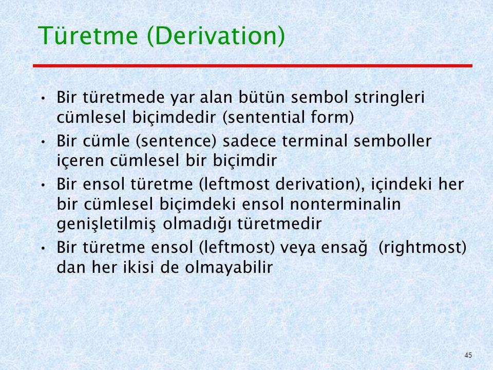 Türetme (Derivation) Bir türetmede yar alan bütün sembol stringleri cümlesel biçimdedir (sentential form) Bir cümle (sentence) sadece terminal semboller içeren cümlesel bir biçimdir Bir ensol türetme (leftmost derivation), içindeki her bir cümlesel biçimdeki ensol nonterminalin genişletilmiş olmadığı türetmedir Bir türetme ensol (leftmost) veya ensağ (rightmost) dan her ikisi de olmayabilir 45