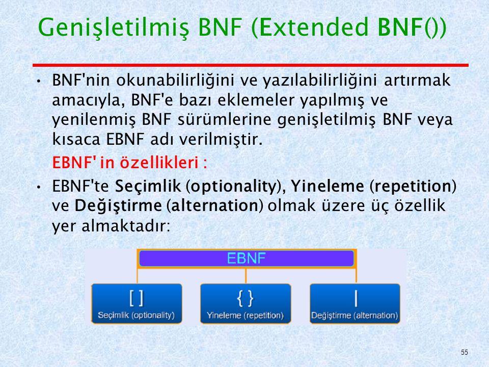 Genişletilmiş BNF (Extended BNF()) BNF nin okunabilirliğini ve yazılabilirliğini artırmak amacıyla, BNF e bazı eklemeler yapılmış ve yenilenmiş BNF sürümlerine genişletilmiş BNF veya kısaca EBNF adı verilmiştir.