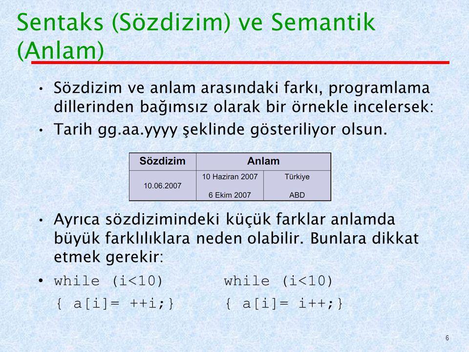 Özellik Gramerleri: Örnek Bir Ada prosedürünün end 'inin üzerindeki ismin, prosedür ismiyle aynı olması kuralını, statik semantikle açıklamak için nitelik gramerlerini kullanalım Sentaks kuralı:  procedure [1] end [2] Semantik kuralı: [1].string= [2].string 67