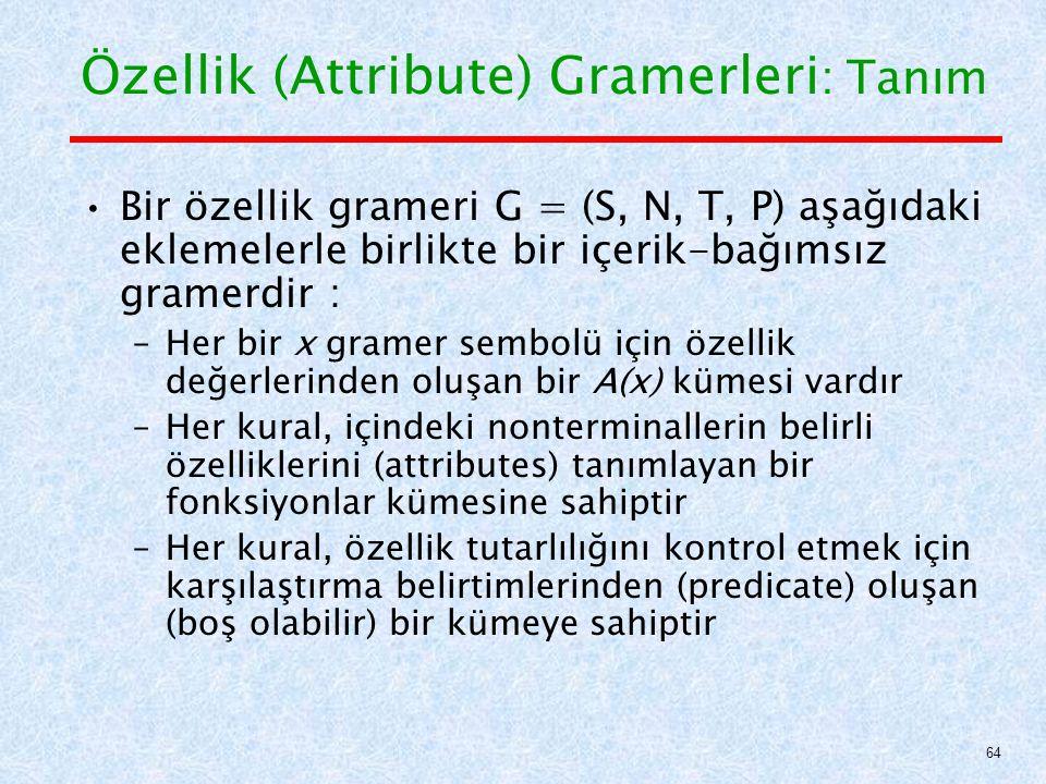 Özellik (Attribute) Gramerleri : Tanım Bir özellik grameri G = (S, N, T, P) aşağıdaki eklemelerle birlikte bir içerik-bağımsız gramerdir : –Her bir x gramer sembolü için özellik değerlerinden oluşan bir A(x) kümesi vardır –Her kural, içindeki nonterminallerin belirli özelliklerini (attributes) tanımlayan bir fonksiyonlar kümesine sahiptir –Her kural, özellik tutarlılığını kontrol etmek için karşılaştırma belirtimlerinden (predicate) oluşan (boş olabilir) bir kümeye sahiptir 64