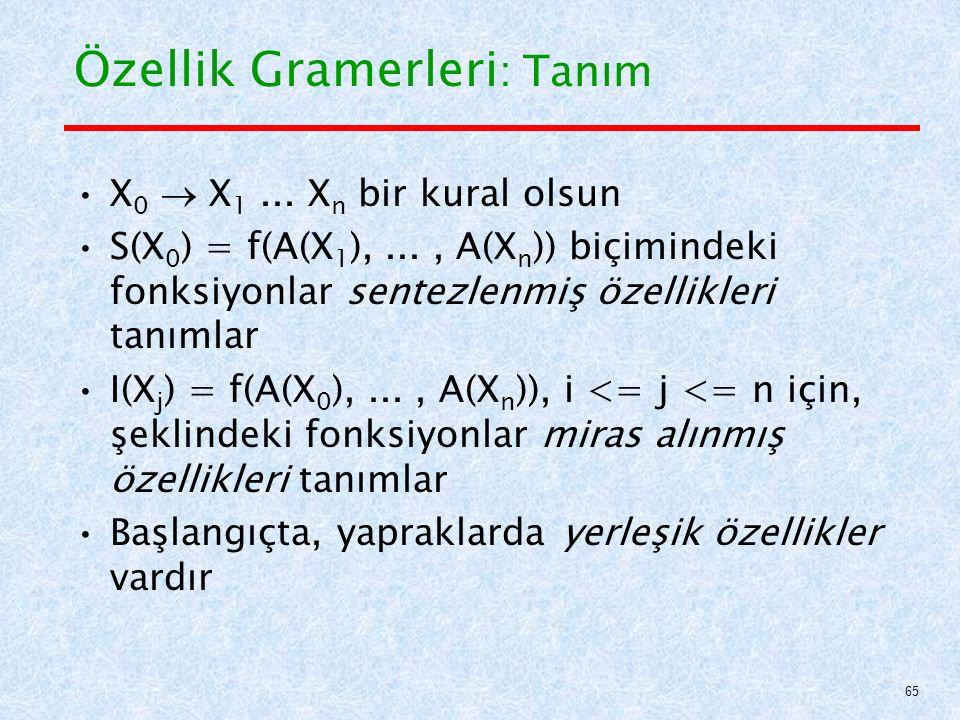 Özellik Gramerleri : Tanım X 0  X 1...