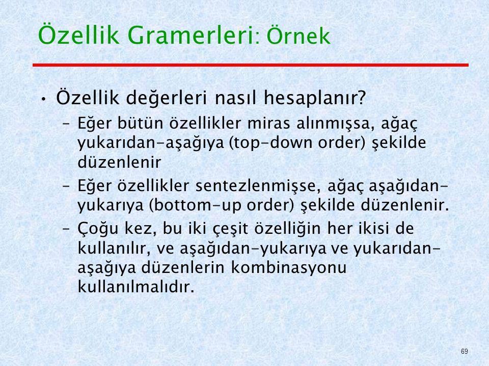 Özellik Gramerleri : Örnek Özellik değerleri nasıl hesaplanır.
