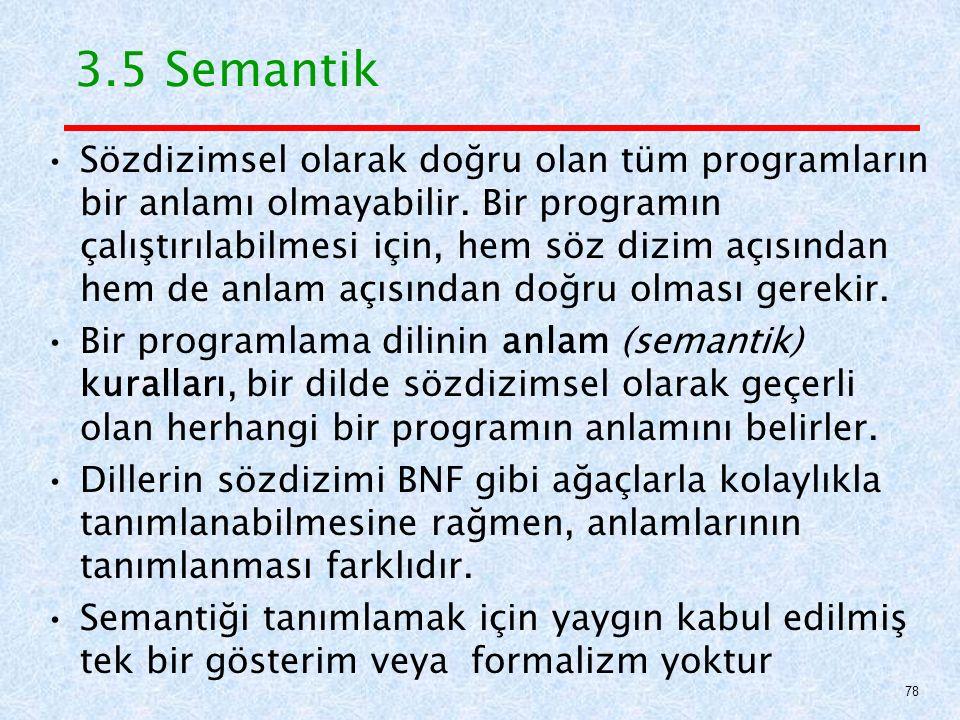 3.5 Semantik Sözdizimsel olarak doğru olan tüm programların bir anlamı olmayabilir.