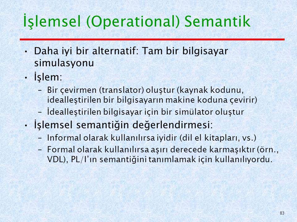 İşlemsel (Operational) Semantik Daha iyi bir alternatif: Tam bir bilgisayar simulasyonu İşlem: –Bir çevirmen (translator) oluştur (kaynak kodunu, idealleştirilen bir bilgisayarın makine koduna çevirir) –İdealleştirilen bilgisayar için bir simülator oluştur İşlemsel semantiğin değerlendirmesi: –Informal olarak kullanılırsa iyidir (dil el kitapları, vs.) –Formal olarak kullanılırsa aşırı derecede karmaşıktır (örn., VDL), PL/I'ın semantiğini tanımlamak için kullanılıyordu.