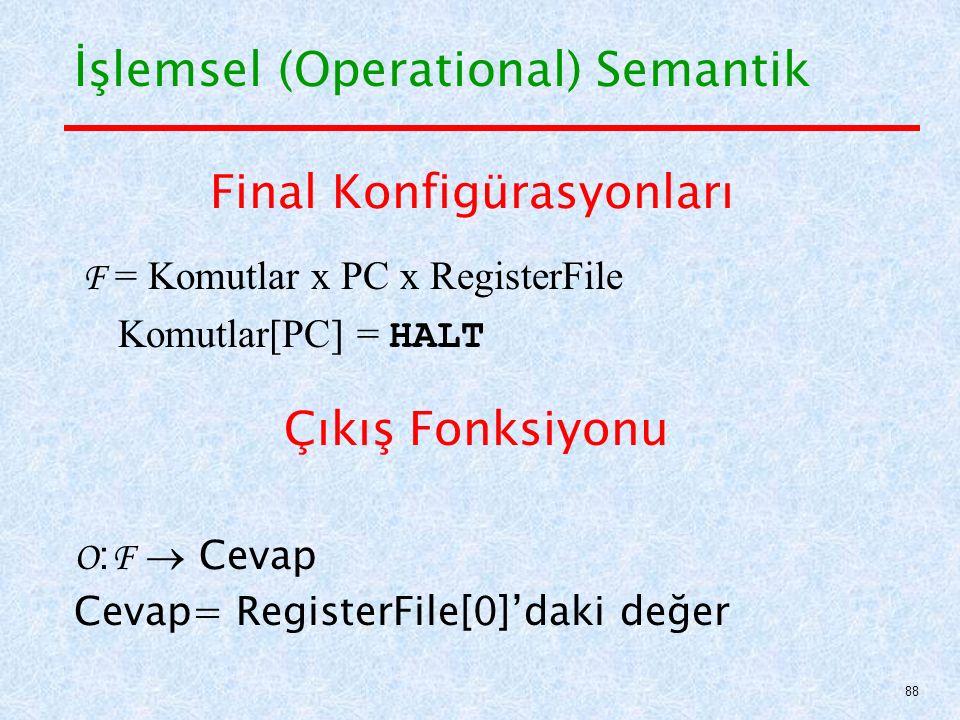 Final Konfigürasyonları F = Komutlar x PC x RegisterFile Komutlar[PC] = HALT Çıkış Fonksiyonu O : F  Cevap Cevap= RegisterFile[0]'daki değer İşlemsel (Operational) Semantik 88