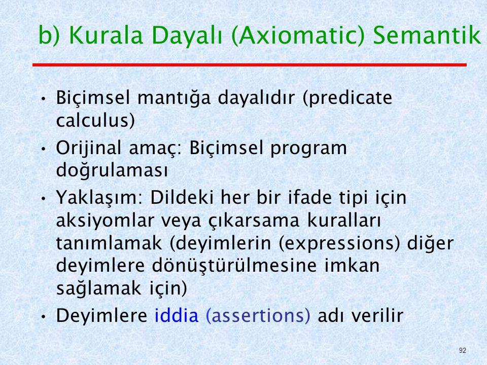 b) Kurala Dayalı (Axiomatic) Semantik Biçimsel mantığa dayalıdır (predicate calculus) Orijinal amaç: Biçimsel program doğrulaması Yaklaşım: Dildeki her bir ifade tipi için aksiyomlar veya çıkarsama kuralları tanımlamak (deyimlerin (expressions) diğer deyimlere dönüştürülmesine imkan sağlamak için) Deyimlere iddia (assertions) adı verilir 92
