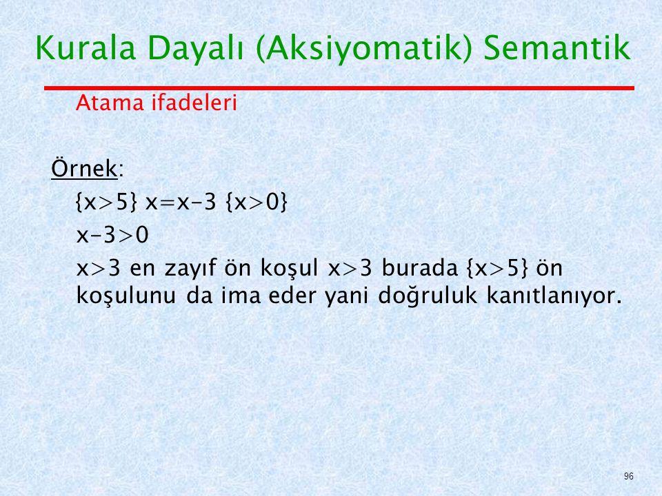 Atama ifadeleri Örnek: {x>5} x=x-3 {x>0} x-3>0 x>3 en zayıf ön koşul x>3 burada {x>5} ön koşulunu da ima eder yani doğruluk kanıtlanıyor.