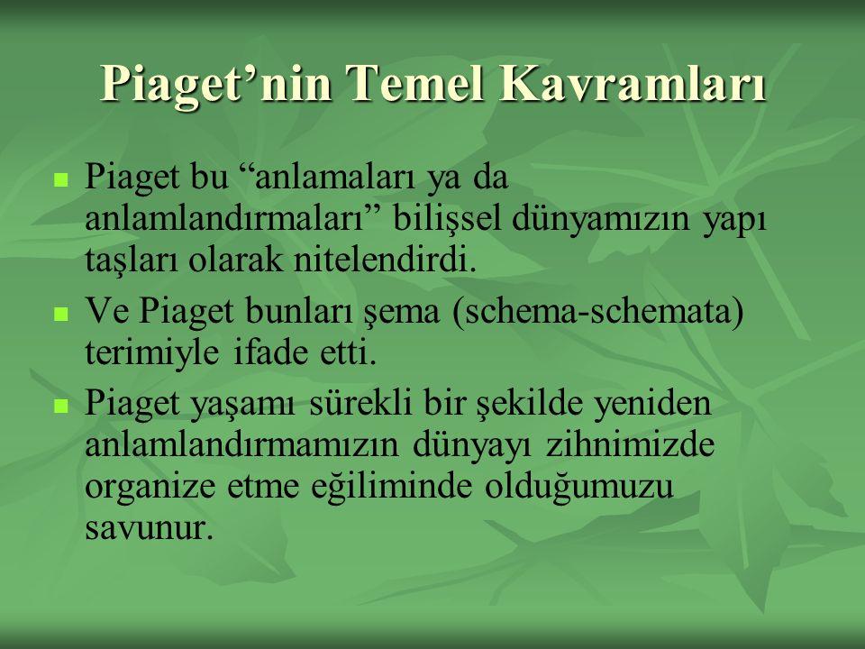 """Piaget'nin Temel Kavramları Piaget bu """"anlamaları ya da anlamlandırmaları"""" bilişsel dünyamızın yapı taşları olarak nitelendirdi. Ve Piaget bunları şem"""