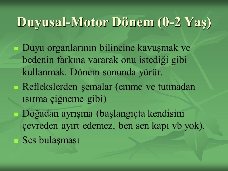 Duyusal-Motor Dönem (0-2 Yaş) Duyu organlarının bilincine kavuşmak ve bedenin farkına vararak onu istediği gibi kullanmak.
