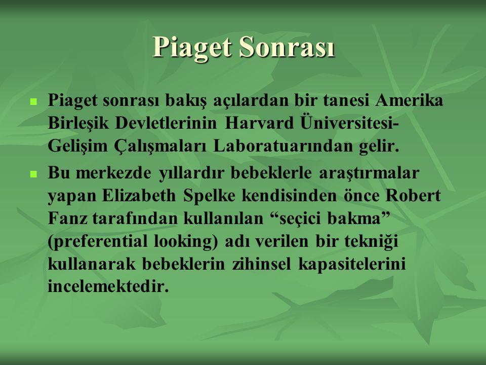 Piaget Sonrası Piaget sonrası bakış açılardan bir tanesi Amerika Birleşik Devletlerinin Harvard Üniversitesi- Gelişim Çalışmaları Laboratuarından gelir.