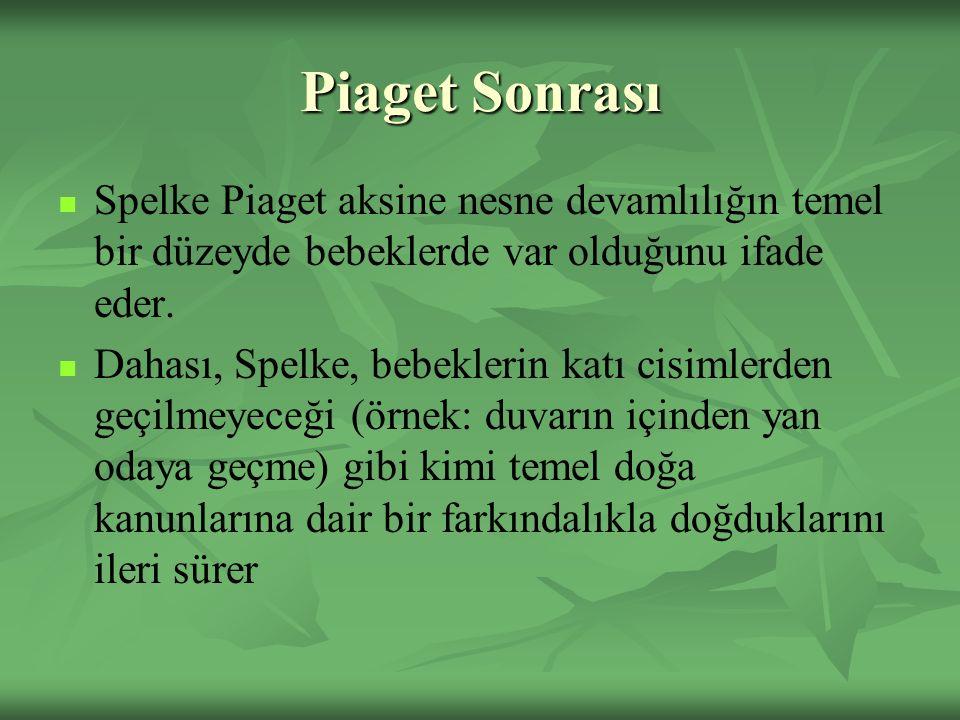 Piaget Sonrası Spelke Piaget aksine nesne devamlılığın temel bir düzeyde bebeklerde var olduğunu ifade eder. Dahası, Spelke, bebeklerin katı cisimlerd
