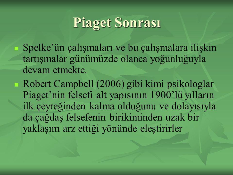 Piaget Sonrası Spelke'ün çalışmaları ve bu çalışmalara ilişkin tartışmalar günümüzde olanca yoğunluğuyla devam etmekte. Robert Campbell (2006) gibi ki