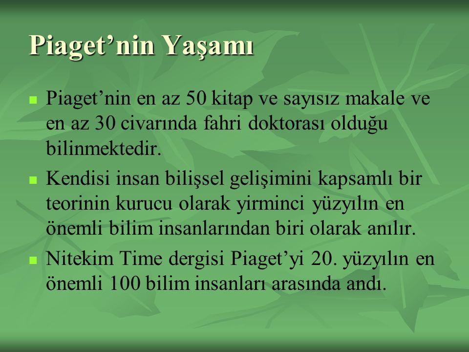 Piaget'nin Yaşamı Piaget'nin en az 50 kitap ve sayısız makale ve en az 30 civarında fahri doktorası olduğu bilinmektedir.