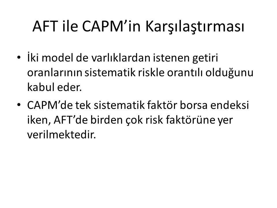 AFT ile CAPM'in Karşılaştırması İki model de varlıklardan istenen getiri oranlarının sistematik riskle orantılı olduğunu kabul eder. CAPM'de tek siste
