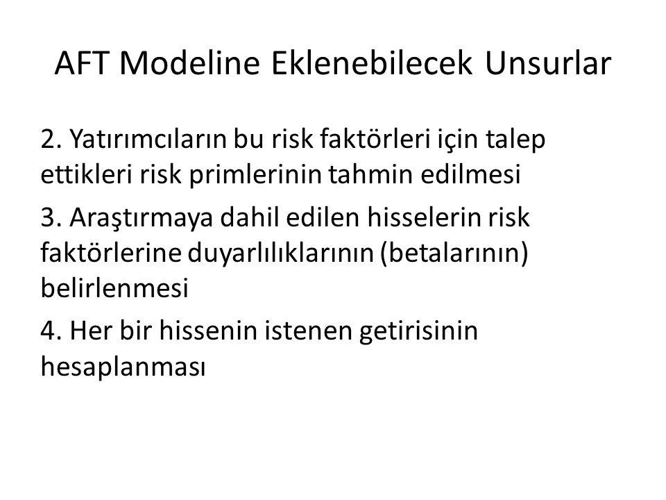 AFT Modeline Eklenebilecek Unsurlar 2. Yatırımcıların bu risk faktörleri için talep ettikleri risk primlerinin tahmin edilmesi 3. Araştırmaya dahil ed