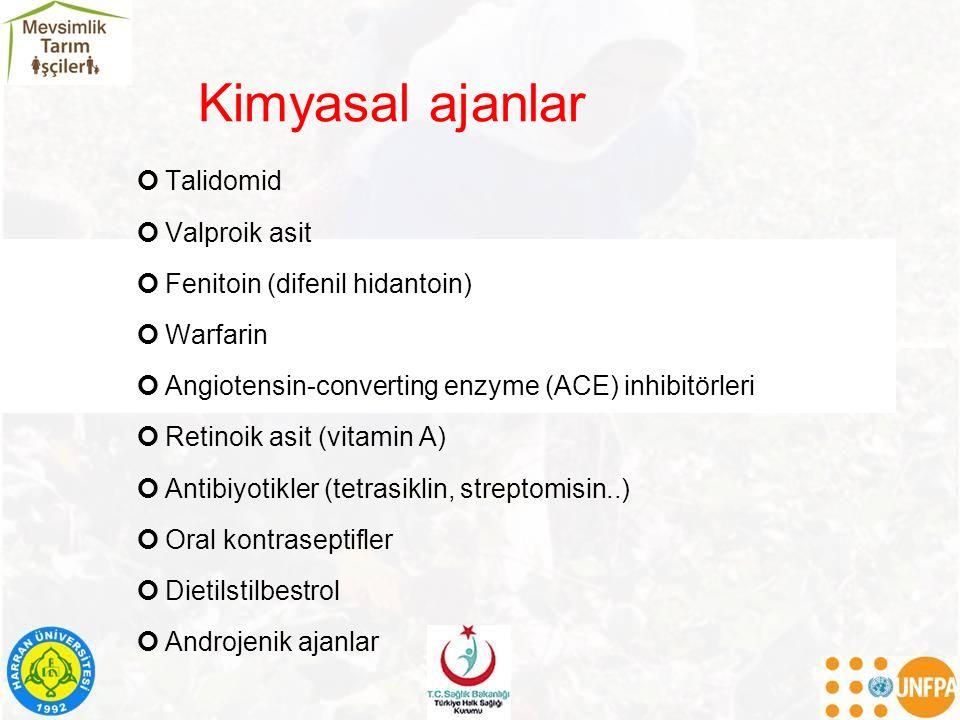 Kimyasal ajanlar Talidomid Valproik asit Fenitoin (difenil hidantoin) Warfarin Angiotensin-converting enzyme (ACE) inhibitörleri Retinoik asit (vitami