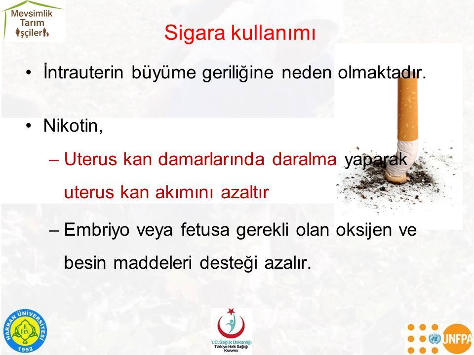 Sigara kullanımı İntrauterin büyüme geriliğine neden olmaktadır. Nikotin, –Uterus kan damarlarında daralma yaparak uterus kan akımını azaltır –Embriyo