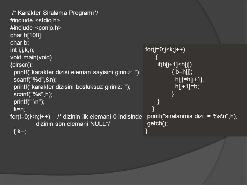 /* Karakter Siralama Programı*/ #include char h[100]; char b; int i,j,k,n; void main(void) {clrscr(); printf(