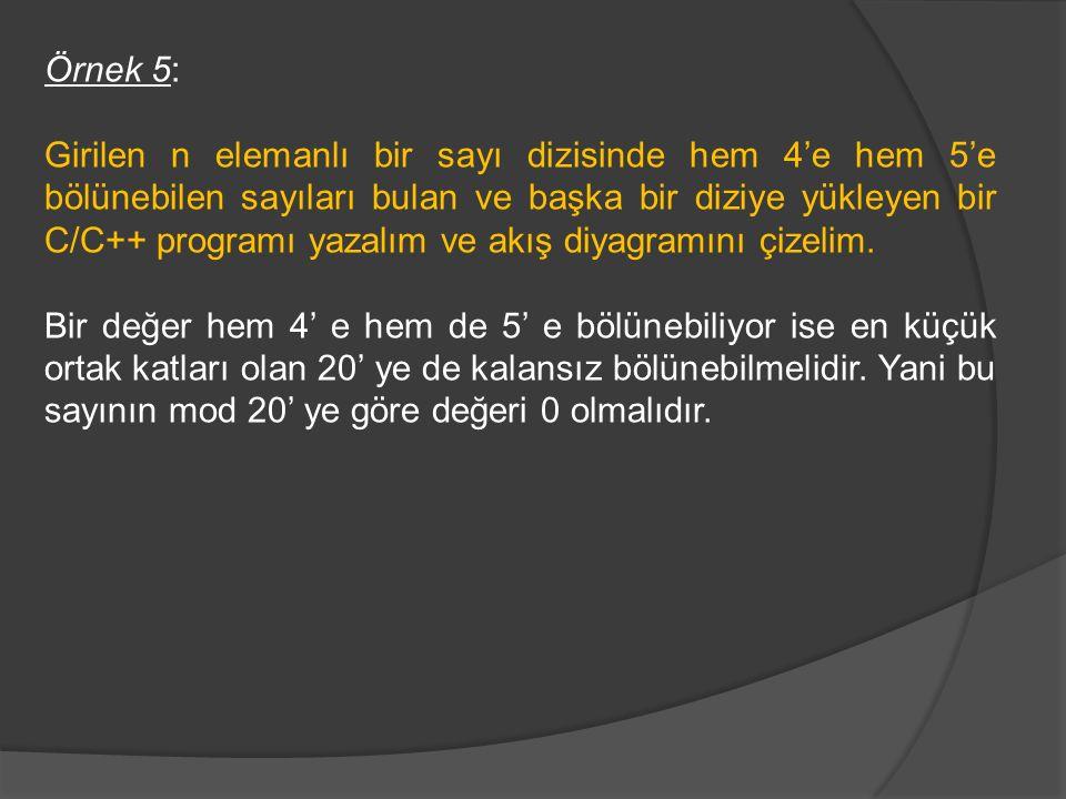 Örnek 5: Girilen n elemanlı bir sayı dizisinde hem 4'e hem 5'e bölünebilen sayıları bulan ve başka bir diziye yükleyen bir C/C++ programı yazalım ve a