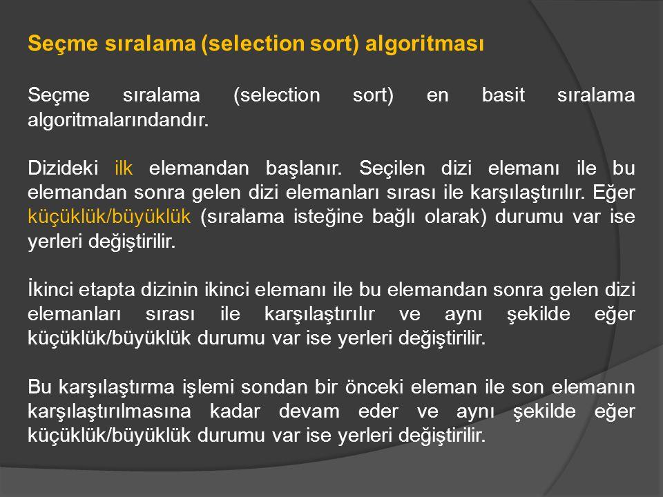 Seçme sıralama (selection sort) algoritması Seçme sıralama (selection sort) en basit sıralama algoritmalarındandır. Dizideki ilk elemandan başlanır. S
