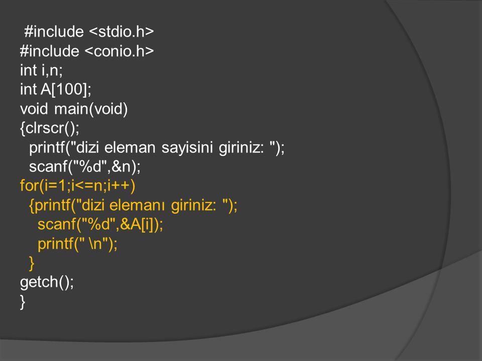 /* Yerlestirmeli Siralama Algoritmasi*/ #include int i,j,n,b; int A[100]; void main(void) {clrscr(); printf( dizi eleman sayisini giriniz: ); scanf( %d ,&n); for(i=1;i<=n;i++) {printf( A[%d]: ,i); scanf( %d ,&A[i]); printf( \n ); } for(i=2;i<=n;i++) {b=A[i]; j=i; while((b 1)) {A[j]=A[j-1]; j--;} A[j]=b; } for(i=1;i<=n;i++) { printf( %d ,A[i]); } printf( \n ); getch(); }