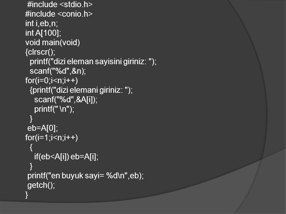 Örnek 3: Klavyeden okunan bir dizi harfin alfabetik sıraya konulmasını sağlayan ve sonucu ekrana yazan bir bir C/C++ programı ve akış diyagramını Örnek alg.4' te oluşturduğumuz algoritma mantığına göre oluşturalım.