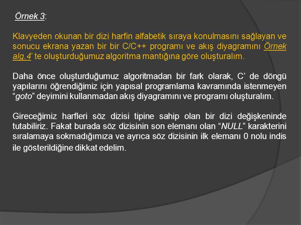 Örnek 3: Klavyeden okunan bir dizi harfin alfabetik sıraya konulmasını sağlayan ve sonucu ekrana yazan bir bir C/C++ programı ve akış diyagramını Örne
