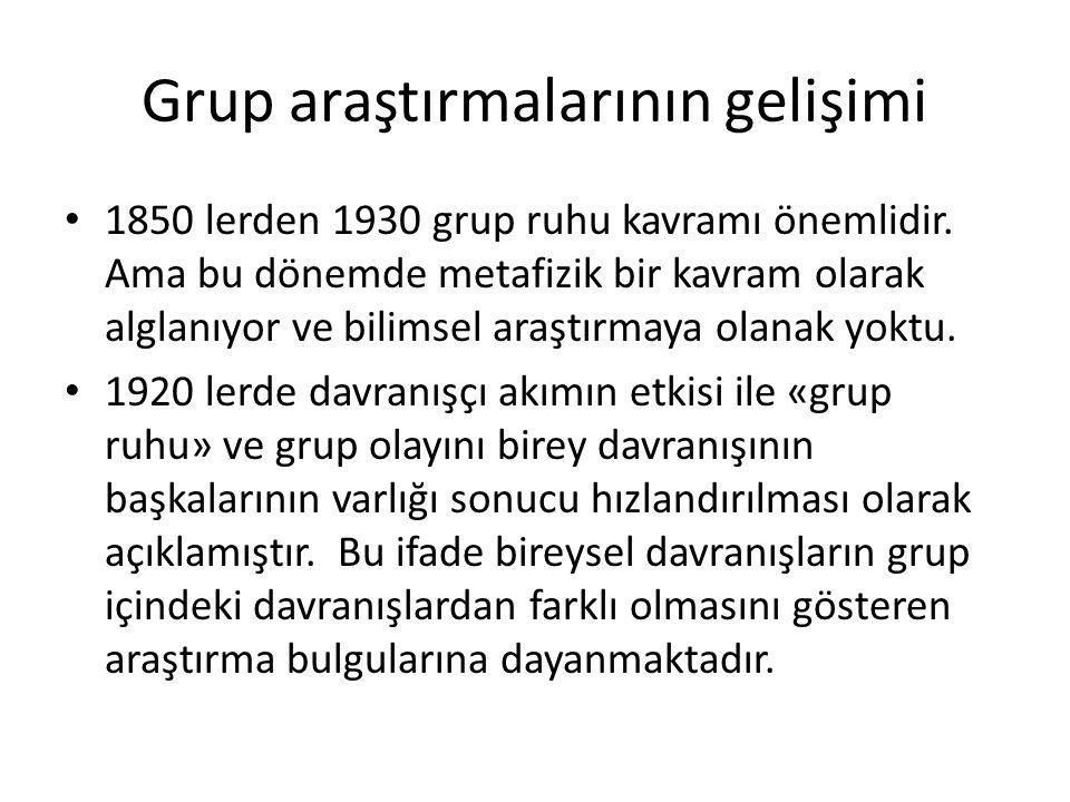 Grup araştırmalarının gelişimi 1850 lerden 1930 grup ruhu kavramı önemlidir. Ama bu dönemde metafizik bir kavram olarak alglanıyor ve bilimsel araştır