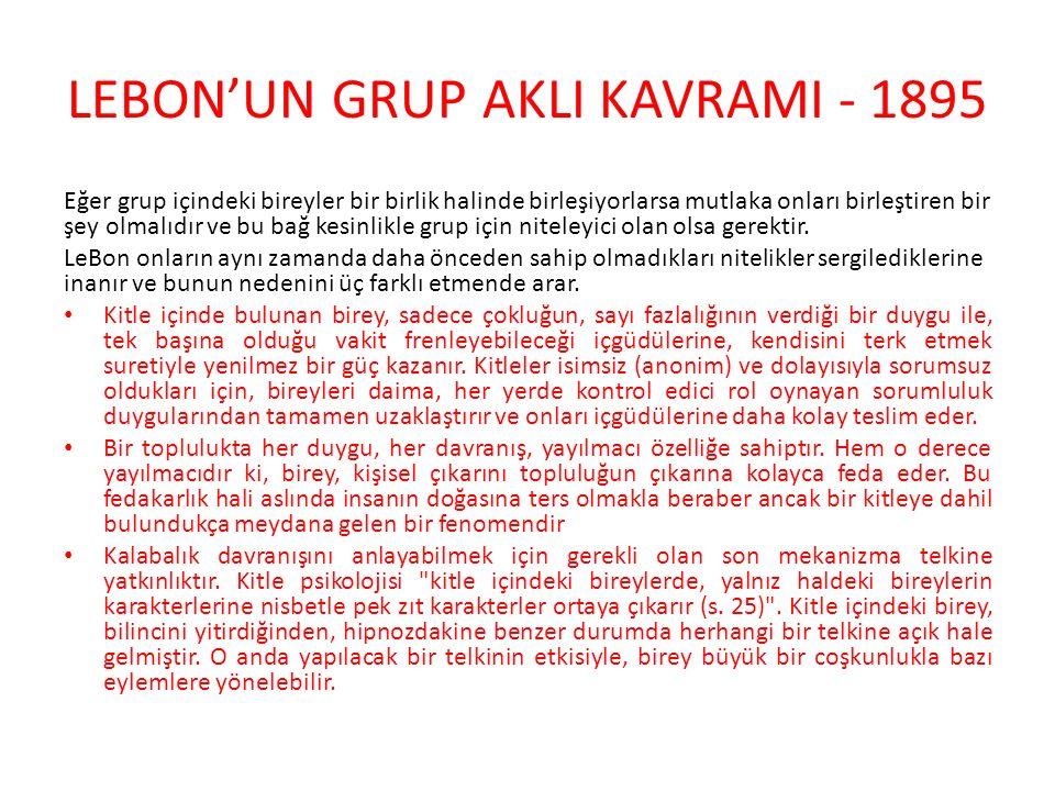 LEBON'UN GRUP AKLI KAVRAMI - 1895 Eğer grup içindeki bireyler bir birlik halinde birleşiyorlarsa mutlaka onları birleştiren bir şey olmalıdır ve bu ba