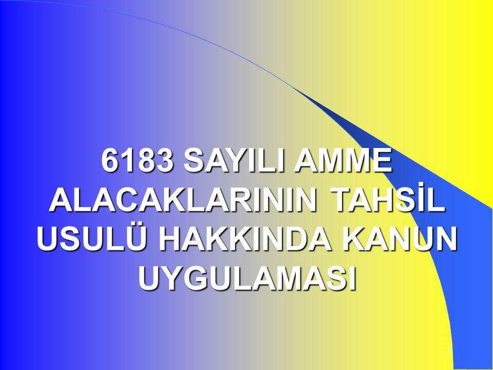 1 6183 SAYILI AMME ALACAKLARININ TAHSİL USULÜ HAKKINDA KANUN UYGULAMASI