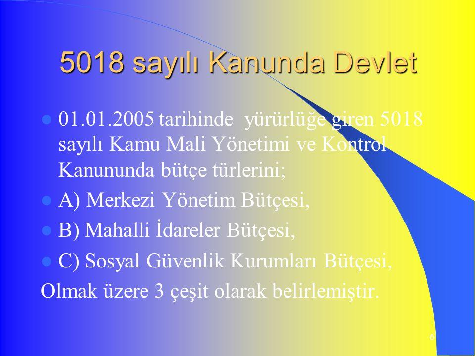 6 5018 sayılı Kanunda Devlet 01.01.2005 tarihinde yürürlüğe giren 5018 sayılı Kamu Mali Yönetimi ve Kontrol Kanununda bütçe türlerini; A) Merkezi Yönetim Bütçesi, B) Mahalli İdareler Bütçesi, C) Sosyal Güvenlik Kurumları Bütçesi, Olmak üzere 3 çeşit olarak belirlemiştir.