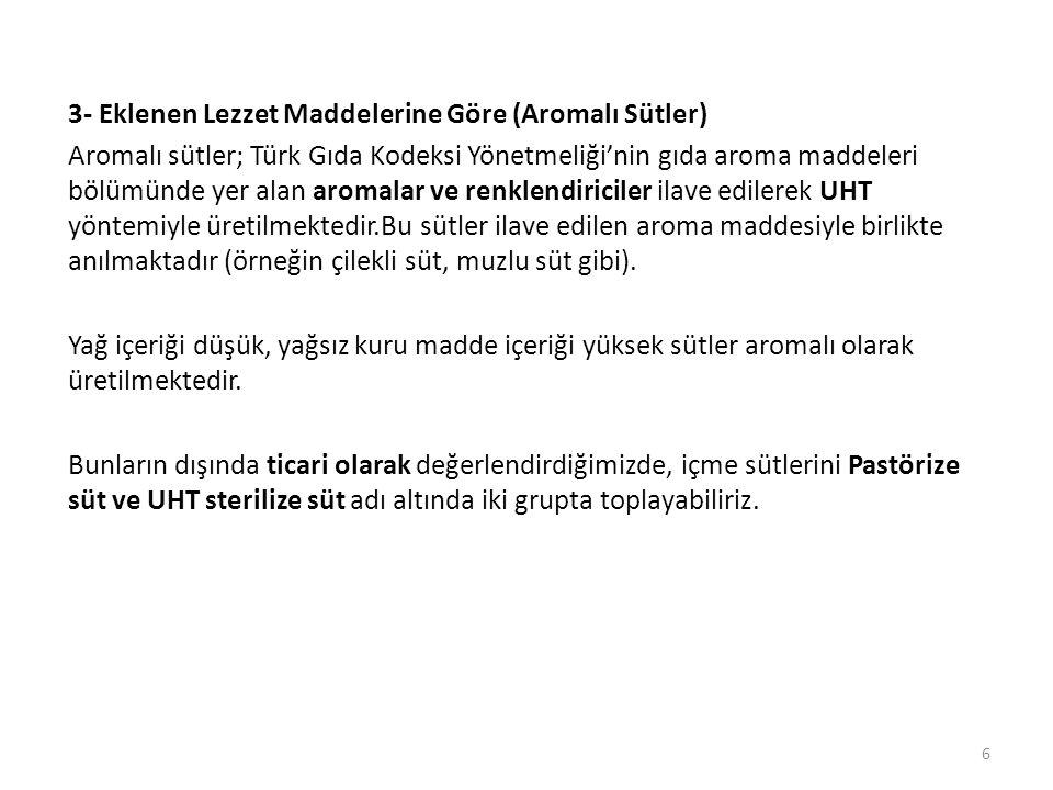 3- Eklenen Lezzet Maddelerine Göre (Aromalı Sütler) Aromalı sütler; Türk Gıda Kodeksi Yönetmeliği'nin gıda aroma maddeleri bölümünde yer alan aromalar