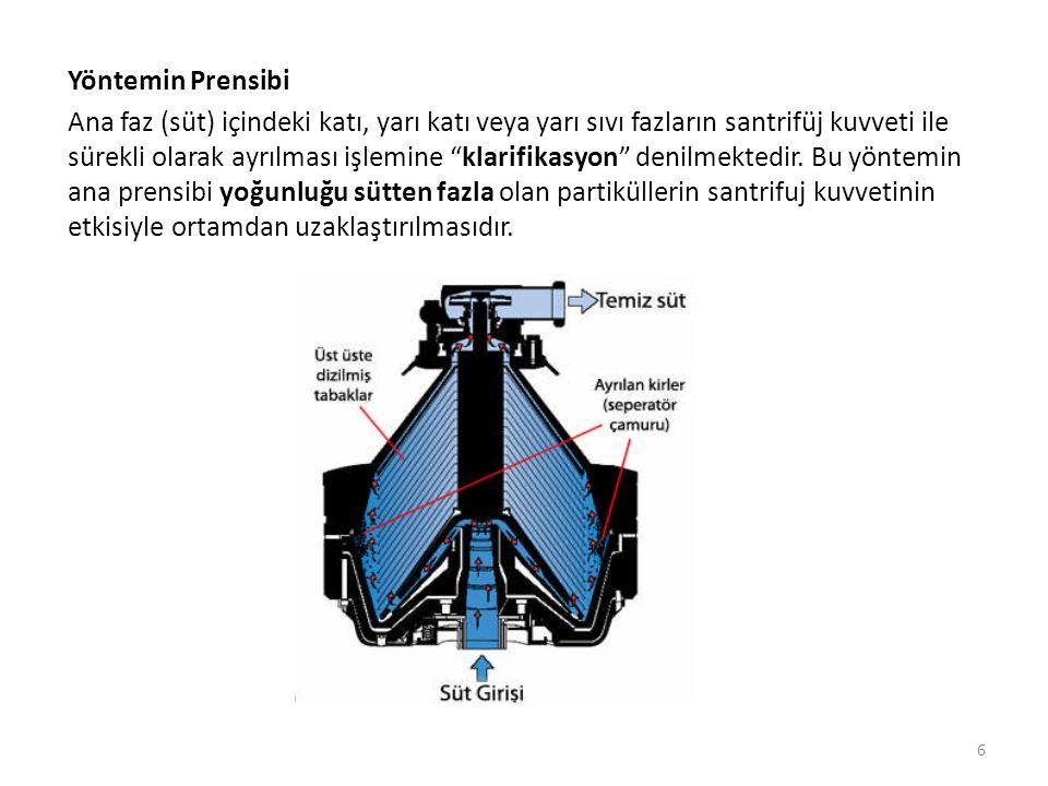 Yöntemin Prensibi Ana faz (süt) içindeki katı, yarı katı veya yarı sıvı fazların santrifüj kuvveti ile sürekli olarak ayrılması işlemine klarifikasyon denilmektedir.