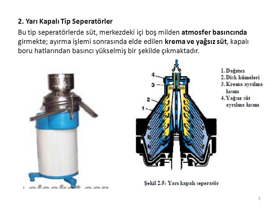 2. Yarı Kapalı Tip Seperatörler Bu tip seperatörlerde süt, merkezdeki içi boş milden atmosfer basıncında girmekte; ayırma işlemi sonrasında elde edile