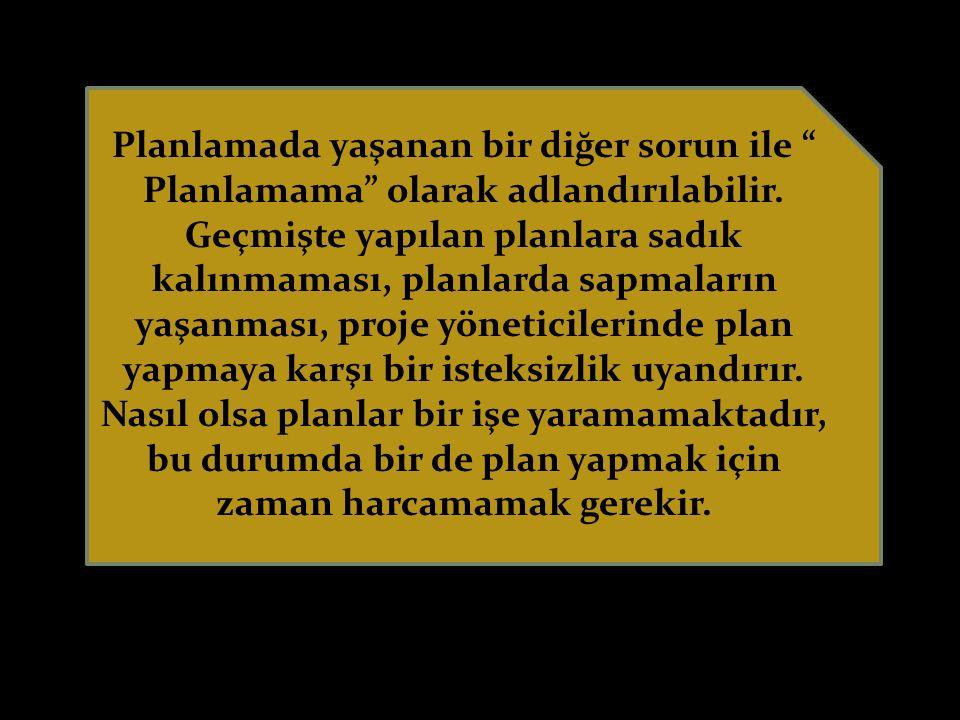 Planlamada yaşanan bir diğer sorun ile Planlamama olarak adlandırılabilir.