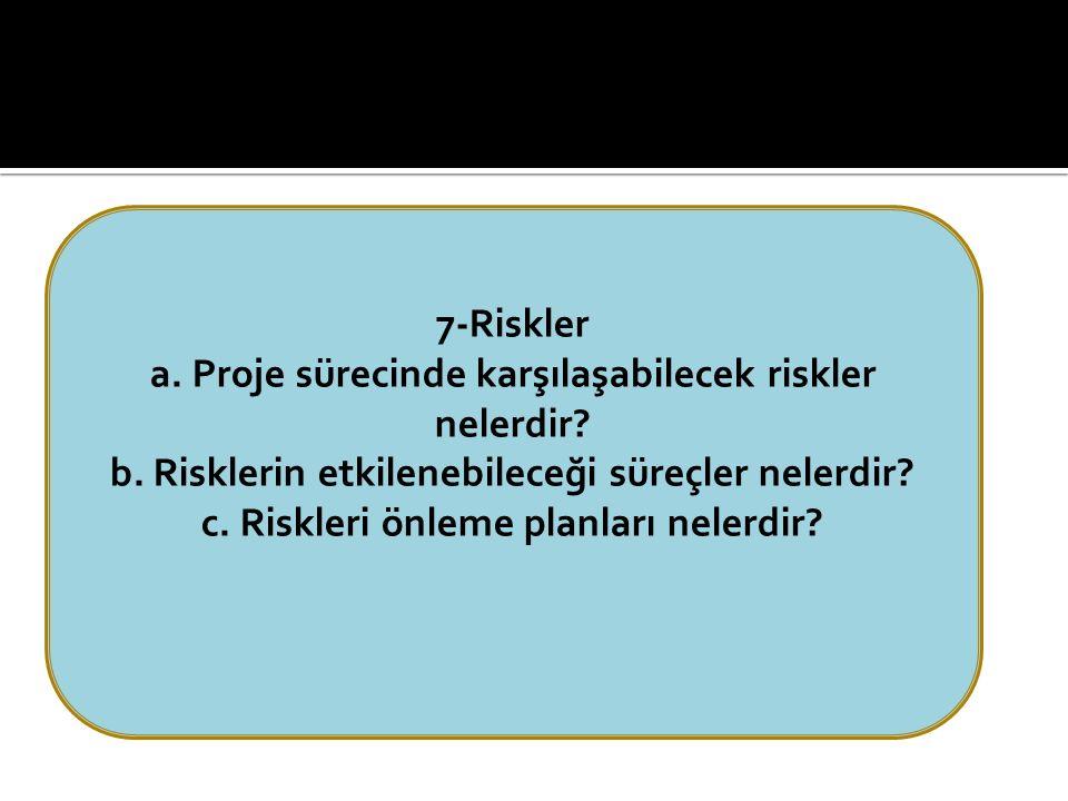 7-Riskler a. Proje sürecinde karşılaşabilecek riskler nelerdir.