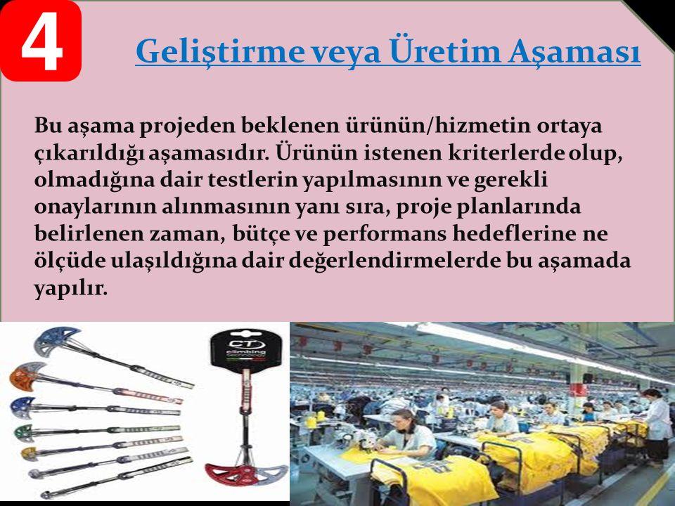 Geliştirme veya Üretim Aşaması Bu aşama projeden beklenen ürünün/hizmetin ortaya çıkarıldığı aşamasıdır.