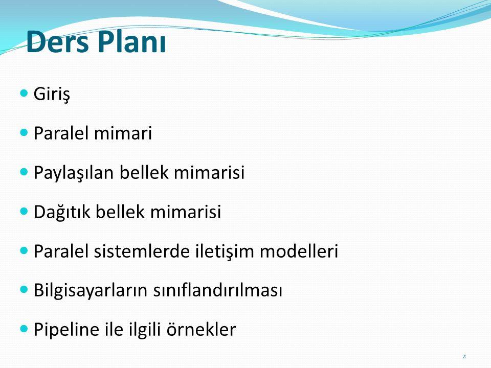 Ders Planı Giriş Paralel mimari Paylaşılan bellek mimarisi Dağıtık bellek mimarisi Paralel sistemlerde iletişim modelleri Bilgisayarların sınıflandırılması Pipeline ile ilgili örnekler 2